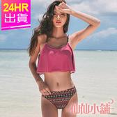 二件式泳裝 紫紅M~XL 圖騰兩件式鋼圈泳衣 比基尼 溫泉SPA泡湯 仙仙小舖