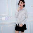 公司制服團體訂購/細壓線彈性長袖彈性女生灰條襯衫《Sebiro 西米羅男女套裝制服》001039721