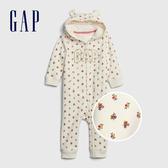 Gap嬰兒 Logo熊耳裝飾連帽包屁衣 616329-象牙白印花