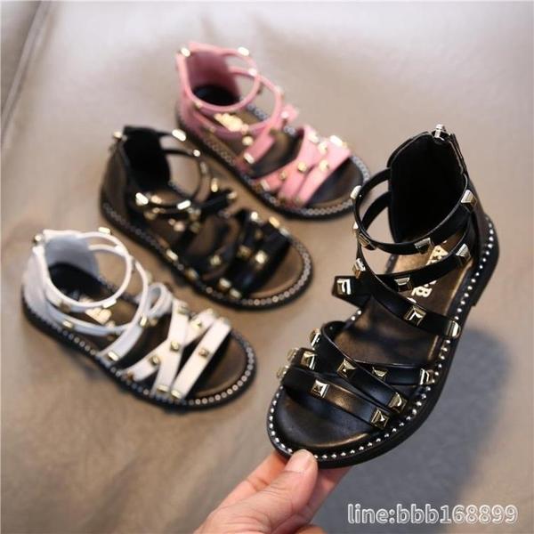 女童涼鞋 女童羅馬涼鞋露趾夏季中幫靴子新款寶寶時尚公主鞋軟底1-3歲小童2 城市科技