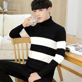 男士高領毛衣男冬季韓版潮流帥氣修身秋冬個性學生針織衫衣服     韓小姐
