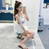 新款韓版無袖T恤露肩顯瘦性感小清新吊帶背心打底上衣女 俏腳丫