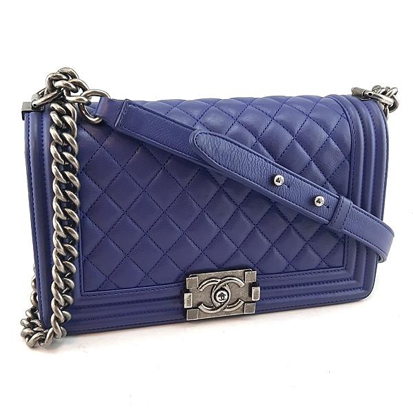 【奢華時尚】CHANEL電光藍色菱格紋羊皮銀鍊肩背斜背25公分BOY包(八八成新)#23850