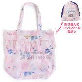 〔小禮堂〕Hello Kitty 折疊式環保購物袋《粉.深藍.束口.玫瑰.愛心》寵愛玫瑰旅行系列 4901610-76072