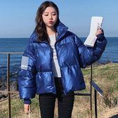 梨卡 - 帥氣冬季新款寬鬆版藍色亮面鋪棉仿羽絨外套大衣風衣AR093