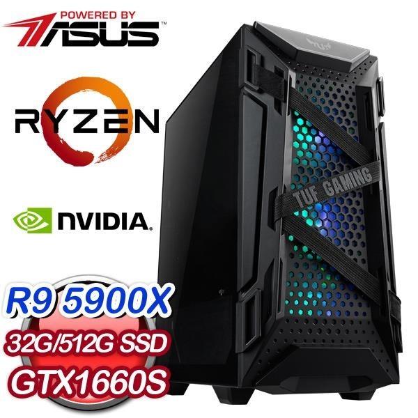 【南紡購物中心】華碩系列【鋼彈薩克-第3話】AMD R9 5900X十二核 GTX1660S 電競水冷電腦(32G/512G SSD)