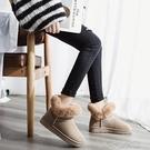 雪地靴女新款時尚加厚加絨皮毛一體短筒厚底...