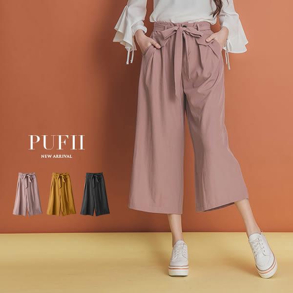 (現貨-黑)PUFII-雪紡寬褲 顯瘦打摺鬆緊腰綁帶雪紡寬褲(附腰綁帶) 3色-0301 現+預 春【CP14183】