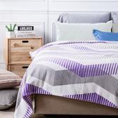 (組)柯林斯緻柔印花法蘭絨毯單人紫灰+淨睡眠長效防抗菌支撐型枕