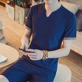亞麻短袖t恤男夏季棉麻V領純棉半袖衫男士休閒潮流男裝