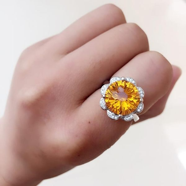 天然黃水晶綠水晶戒指925銀鍍白金花型夸張女款