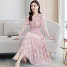 碎花雪紡洋裝子女裝2021年新款夏天季氣質短袖早春顯瘦大擺長裙 黛尼時尚精品