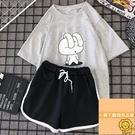 夏季短袖T恤短褲休閑套裝女運動套裝女大碼顯瘦【小狮子】