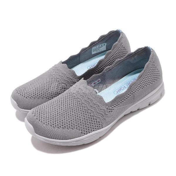 Skechers 休閒鞋 Seager-Umpire 灰 藍 女鞋 透氣鞋面 花邊 健走鞋 【ACS】 158011GRY