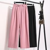 西裝褲直筒褲闊腿褲女高腰垂感年新款小個子紫色直筒寬松拖地褲夏薄西裝褲MC077.胖丫