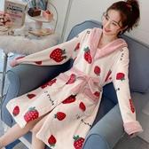 珊瑚絨睡衣睡袍女秋冬季長款加厚法蘭絨浴袍可外穿睡裙網紅款可愛  MKS免運