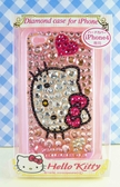 【震撼精品百貨】Hello Kitty 凱蒂貓~HELLO KITTY iPhone4貼鑽手機殼-粉大頭