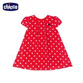 chicco-花朵瓢蟲-圓點雪紡紗短袖洋裝