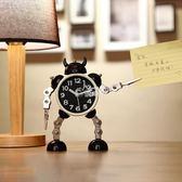 變形機器人鬧鐘創意學生小鬧鐘可愛兒童卡通鬧鐘台鐘座鐘金屬鬧錶 俏腳丫