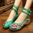 低跟鞋 民族風老北京女布鞋低跟高幫繡花鞋牛筋防滑廣場舞鞋大碼單鞋