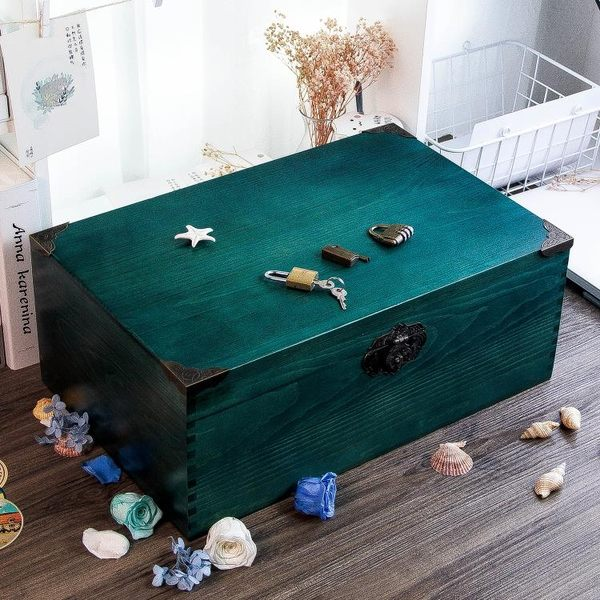 實木復古小木箱儲物箱收納盒長方形帶鎖木箱子木盒木質盒子書箱 滿天星