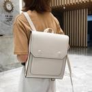 皮革後背包 英倫風後背包女2021新款簡約百搭軟皮質大容量韓版大學生書包背包 曼慕