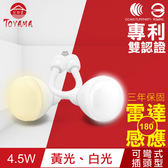 【TOYAMA特亞馬】LED雷達感應燈4.5W 彎管式插頭型