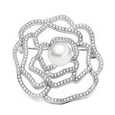 胸針 純銀鍍白金珍珠-玫瑰花鑲鑽生日情人節禮物女胸花73cw52[時尚巴黎]