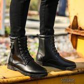冬季高筒男靴子英倫男士馬丁靴工裝男鞋加絨保暖棉鞋百搭雪地棉靴 街頭布衣