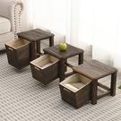 全實木家用客廳小凳子成人換鞋凳復古茶幾方凳小板凳兒童客廳矮凳 印巷家居
