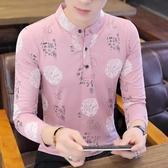 polo衫 2019秋季新款立領Polo衫男韓版修身中國風青年長袖T恤潮流打底衫