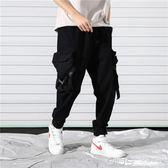 工裝褲男秋褲學生黑色秋季9九分長褲褲子嘻哈ins潮牌黑色束腳褲 深藏blue
