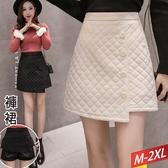 格子金絲絨裙褲(2色)M~2XL【461065W】【現+預】☆流行前線☆