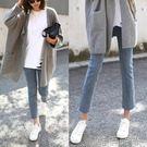 直筒褲 薄款韓版黑色chic高腰牛仔褲女新款寬鬆彈力學生毛邊九分直筒褲潮 唯伊時尚