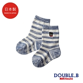 DOUBLE_B 日本製 黑熊經典橫紋兒童襪