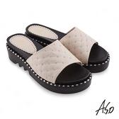 A.S.O 時尚流行 夏季輕量菱紋車線裝飾時髦拖鞋 米