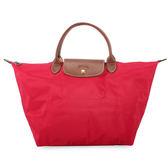 LONGCHAMP短提把中型尼龍摺疊水餃包(玫瑰紅)480101-270