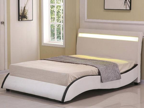 皮床 布床架 SB-055-1 安琪拉5尺米白皮雙人床(不含床墊及床上用品)【大眾家居舘】