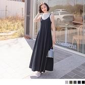 《DA8478-》多色高含棉V領細肩帶傘襬洋裝 OB嚴選