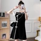 M-4XL大碼洋裝連身裙复古改良旗袍大碼胖妹妹少女方领赫本风遮肉连身裙7203 3F072-B 胖妞衣櫥