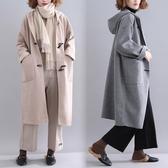 牛角扣連帽毛呢外套 潮秋冬新款大尺碼減齡中長款條紋長袖呢子大衣女 週年慶降價