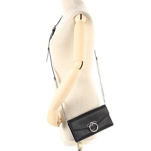 Rebecca Minkoff  JEAN質感顆粒細紋皮革長夾鍊帶斜背兩用包(黑色)220126