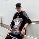 街頭潮流高街T恤 男生熊貓炸街中袖T恤 2021情侶女歐美卡通短袖T恤 中國風嘻哈潮牌體恤T恤