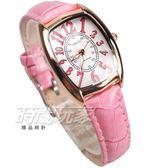 KEZZI珂紫 完美時尚 酒樽型 數字時刻 學生錶 高質感皮革 玫瑰金x粉紅 KE1834玫粉