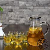 大容量耐高溫冷水壺加厚耐熱玻璃果汁壺家用防爆涼白開水壺透明【黑色地帶】