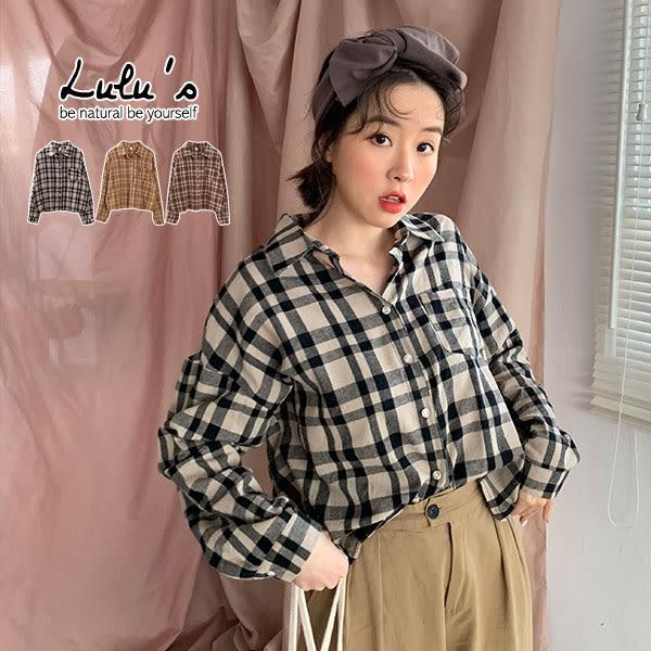 LULUS-Y單口袋格紋長袖襯衫-3色【01190651】