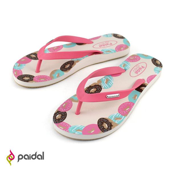 Paidal 甜甜圈足弓夾腳涼拖鞋-草莓粉