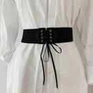 腰鏈 腰封 黑色腰帶女寬收腰裝飾百搭配連身裙 子襯衫鬆緊彈力繫帶女士  店慶降價