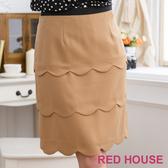 【RED HOUSE-蕾赫斯】浪漫波浪合身裙(卡其) 零碼出清,滿499元才出貨