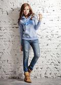 【BTIS】斑點法蘭絨女連帽T恤 淺藍色